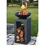 Design-Feuerschale mit Holzablage - 3