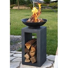 Foto der  günstigen Design-Feuerschale mit Holzablage-3