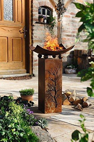 Design-Feuerschale mit Dekosäule -